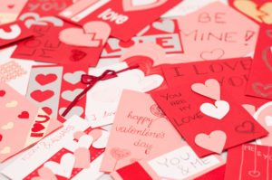 set of valentines cards lying on the floor