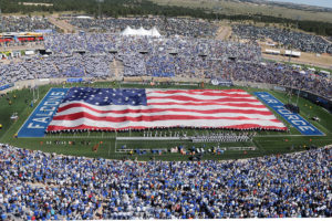 A 300 foot long American Flag is unfurled on the field at Falcon Stadium during halftime activities as Air Force met the TCU Horned Frogs at Falcon Stadium in Colorado Springs, Colo. Sep 10, 2011. The Horned Frogs defeated Air Force 35-19. Both teams are 1-1 in season play.  (Air Force photo/ Sarah Chambers)